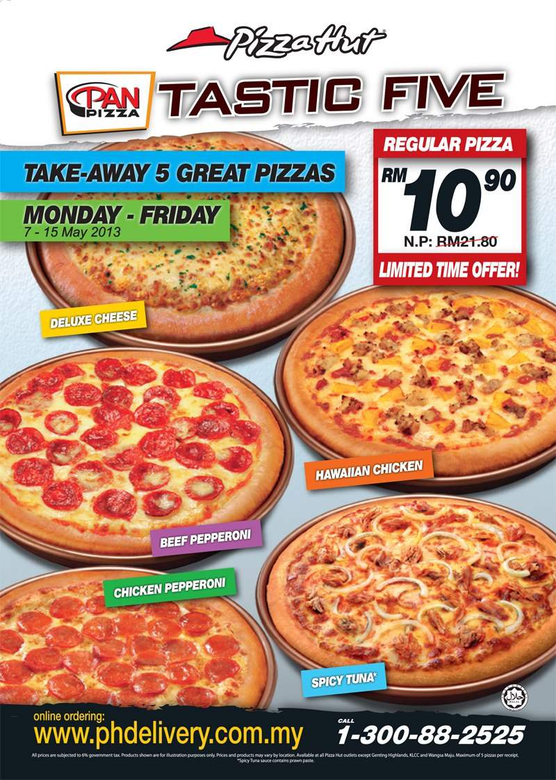 Pizza Hut Take Away 5 Great Pizzas Half Price Malaysia Food Promotion Portal