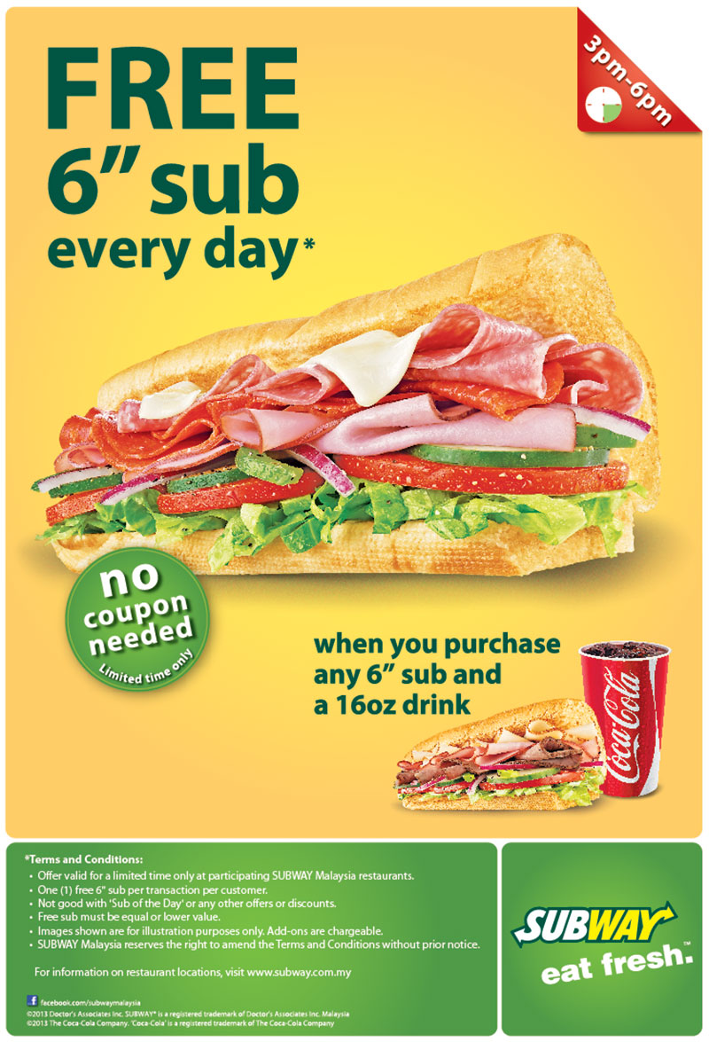 Subway Coupons. Looking for the latest Subway coupons, specials and deals? Then read on. We have added a list of current deals, daily specials and $5/$6 promotions for Subway in .